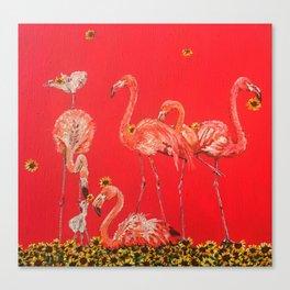 Sunning Flamingos Canvas Print
