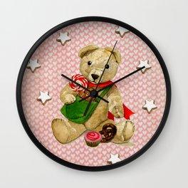 Pink_Hearts_Xmas_Bear_1 Wall Clock