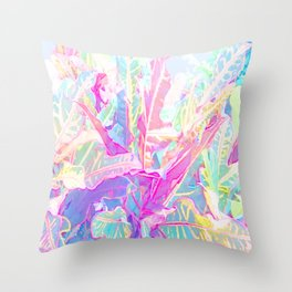 Tropical croton leaves 1/2 Throw Pillow