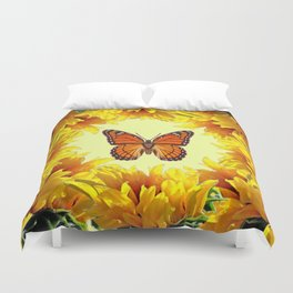 Monarch Butterfly Creany Yellow Sunflower Circle Duvet Cover