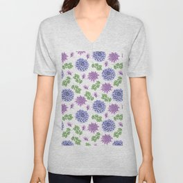 Artistic purple blue green watercolor elegant peonies floral Unisex V-Neck