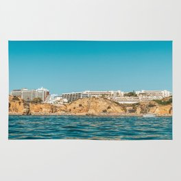 People On Lagos Beach Of Algarve In Portugal, Travel Photo, Large Printable Photography, Ocean Wall Rug