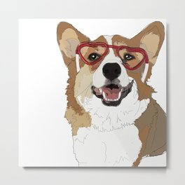 Happy Valentine's Day Corgi Metal Print