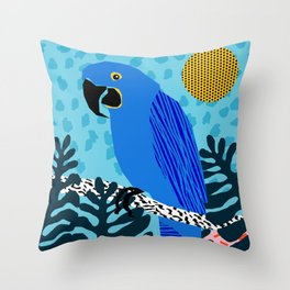 Steaz - memphis throwback tropical retro minimal bird art 1980s 80s style pattern parrot fashion Throw Pillow