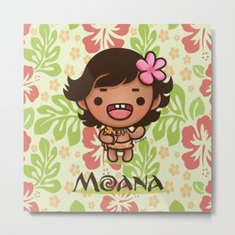Kawaii Baby Moana Metal Print