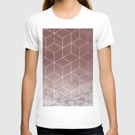 Geometric Cubes Deep Pink on Marble T-shirt