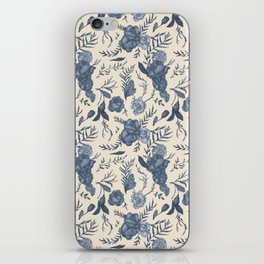 Blue Floral Pattern iPhone Skin