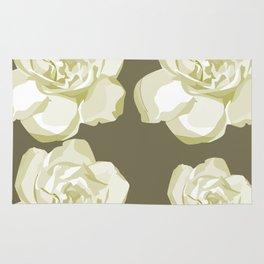 Brown,White Roses Rug