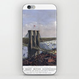 NEW YORK  East River BRIDGE city old map Father Day art print poster iPhone Skin