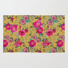 Mustard yellow floral autumn / fall flowers and berries Rug