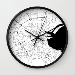 White on Black Dublin Street Map Wall Clock
