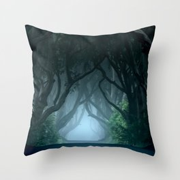 Cold foggy morning in Dark Hedges Throw Pillow