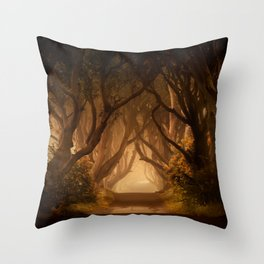 Sunny morning at Dark Hedges Throw Pillow
