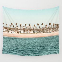 Vintage Newport Beach Print {1 of 4} | Photography Ocean Palm Trees Teal Tropical Summer Sky Wall Tapestry