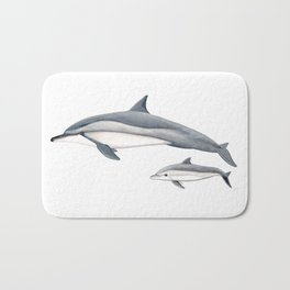 Long-beaked dolphin and baby Bath Mat
