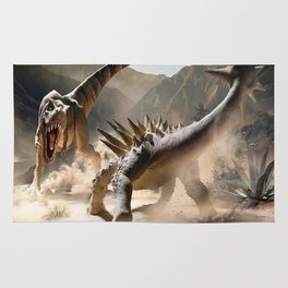 Dinosaurs Jurassic fighting Rug