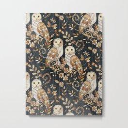 Wooden Wonderland Barn Owl Collage Metal Print