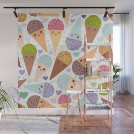 Kawaii funny Ice cream waffle cone, with pink cheeks and winking eyes Wall Mural