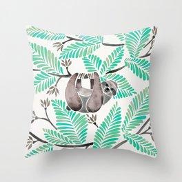 Happy Sloth – Tropical Mint Rainforest Throw Pillow