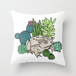 Toad with Succulents Throw Pillow