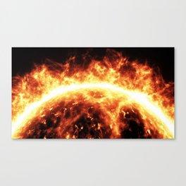 Sun surface with solar flares Canvas Print