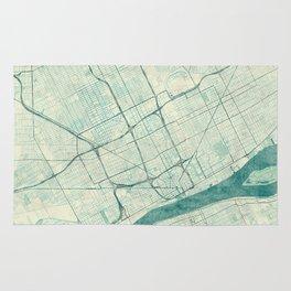Detroit Map Blue Vintage Rug