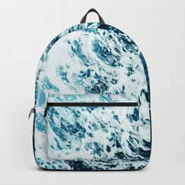 Water, Sea, Ocean, Wave, Blue, Nature, Modern art, Art, Minimal, Wall art Backpack