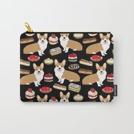 Corgi Patisserie Bakery French Parisian food, tarts, eclair, napoleon, cute food design Carry-All Pouch