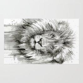 Lion Watercolor Animal Rug
