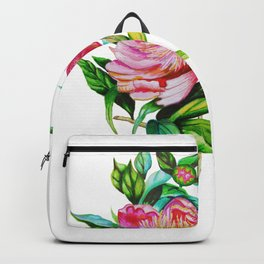 bright red pink peony . Artwork Backpack
