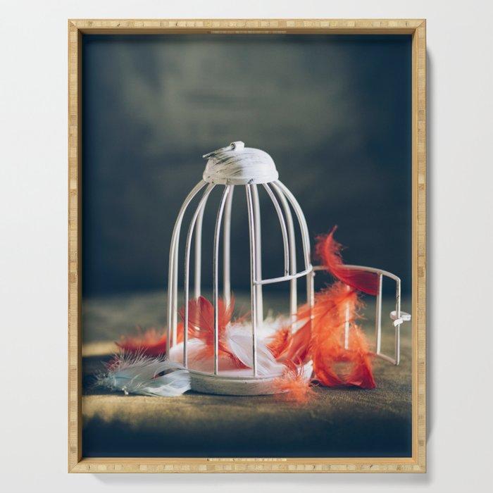 empty bird cage Serving Tray