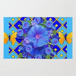 Blue  Patterns Morning Glories & Gold Butterflies Rug