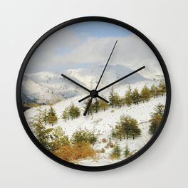 Snow mountains. Retro forest Wall Clock
