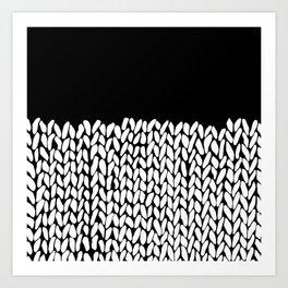 Half Knit  Black Art Print