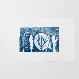 linocut trees print Rug