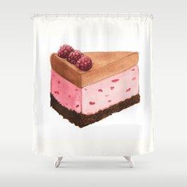 Raspberry Ice Cream Cake Slice Shower Curtain