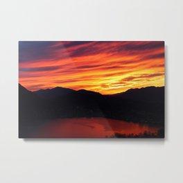 Sunset behind the mountains Metal Print