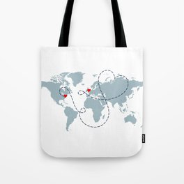 Long Distance World Map - UK to New York Tote Bag
