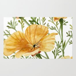 California Poppies - Watercolor Painting Rug