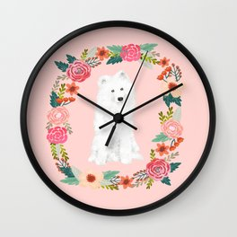 Samoyed dog breed floral wreath pet portrait dog gifts Wall Clock