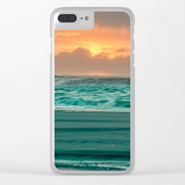 Turquoise Ocean Pink Sunset Clear iPhone Case