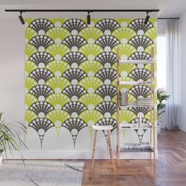 brown and lime art deco inspired fan pattern Wall Mural