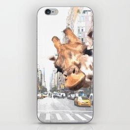 Selfie Giraffe in New York iPhone Skin