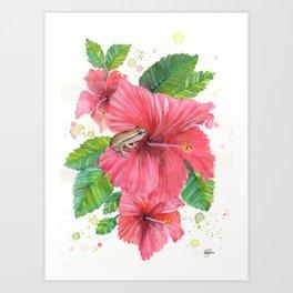 Coqui Frog & Hibiscus Flower Art Print