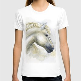 White Horse Watercolor Painting Animal Horses T-shirt
