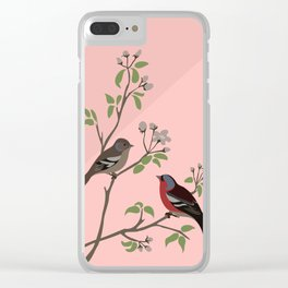 Peaceful harmony in the cherry tree - Illustration Clear iPhone Case