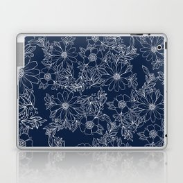 Artistic hand painted navy blue white modern floral Laptop & iPad Skin