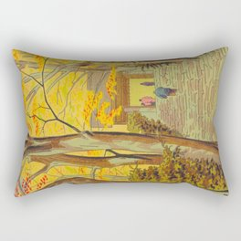 Asano Takeji Japanese Woodblock Print Vintage Mid Century Art Autumn Trees Shinto Shrine Rectangular Pillow