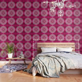 Mandala Hot Pink Colorburst Wallpaper