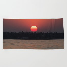 Really red sun Beach Towel